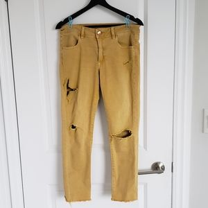 American Eagle Mustard Ripped Jeans